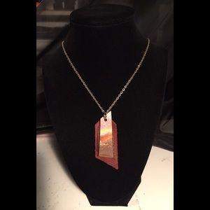 "Handmade, handcut bronze & leather 18"" necklace"
